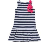 Kinder Jerseykleid mit Blumen dunkelblau / naturweiß