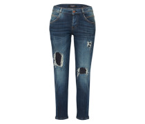 Tapered Denim mit Glitzer-Steinen blue denim