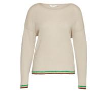 Pullover mit Häkelbündchen weiß