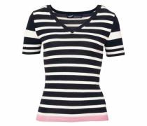 Kurzarmpullover rosa / schwarz / weiß