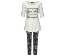 Pyjama dunkelgrau / weiß