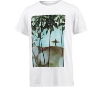 Printshirt Herren dunkelgrün / weiß