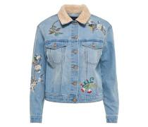 Detailreiche Jeansjacke beige / hellblau