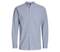 Langarmhemd Stehkragen hellblau