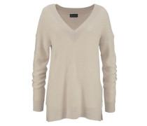 V-Ausschnitt-Pullover beige