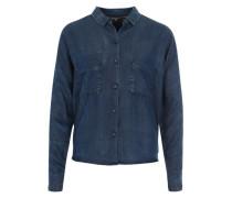 Jeansbluse 'Cropped' blau