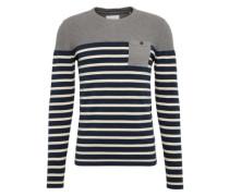 Pullover 'striped cnk pkt' navy / grau / weiß