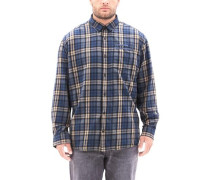 Regular: Kariertes Baumwollhemd dunkelbeige / blau