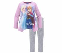 Shirt & Leggings Die Eiskönigin Elsa und Anna (Set 2-tlg.) für Mädchen grau / pink