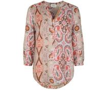 Bluse mit sommerlichem Print beige / rot