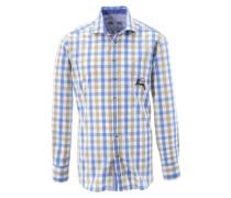 Trachtenhemd mit Hirsch-Druck ecru / rauchblau / weiß