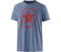T-Shirt blau / hellrot
