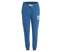 Sweatpants mit Logoprint blau