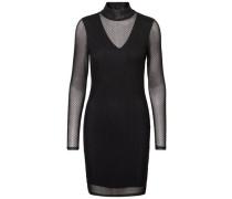 Gepunktetes Kleid mit langen Ärmeln schwarz