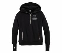 Kapuzensweatshirt dunkelgrau / schwarz / weiß