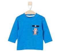 Flammgarnshirt mit Print nachtblau / blaumeliert / hellorange