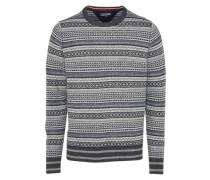 Pullover 'ramone' grau / weiß