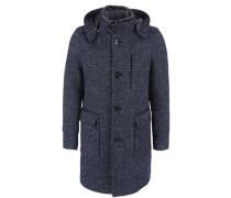 Modischer Mantel mit Teddykragen blau