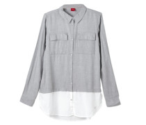 Two-Tone-Bluse im Layer-Look grau