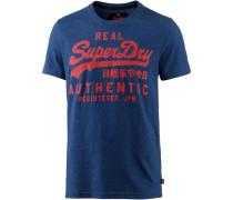 T-Shirt Herren blaumeliert / rostrot