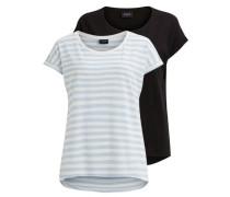 Einfaches T-Shirt 'vidreamers' hellblau / schwarz / weiß