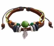 Armband 'Blatt' braun / grau / grün / orange / silber