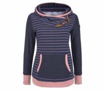 Kapuzensweatshirt blaumeliert / rosa