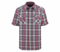 Kurzarmhemd grau / rot / weiß