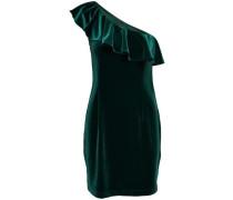 One Shoulder Samt Kleid ohne Ärmel dunkelgrün