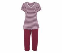 Capri-Pyjama merlot / weiß