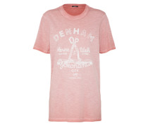 T-Shirt 'marine & Walk' rosa / weiß