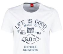 T-Shirt mit Used-Print weiß