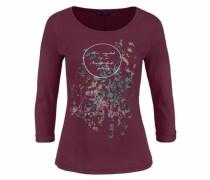 3/4-Arm-Shirt hellblau / rosa / weinrot