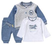 Baby Set Sweatjacke mit Langarmshirt und Sweathose für Jungen blau