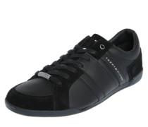 Sneaker im weichen Leder-Mix schwarz
