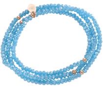 Armband zum Wickeln mit Kristallsteinen aqua / hellblau / rosegold