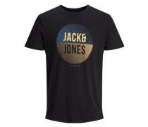 T-Shirt Print blau / pastellgelb / schwarz