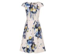 Kleid mit formgebenden Teilungsnähten blau / naturweiß