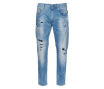 'Anbass' Jeans im Used-Style blue denim