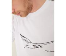 T-Shirt Jugendkleid mit Print weiß
