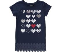 T-Shirt für Mädchen dunkelblau / silbergrau / rot / weiß