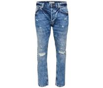 Slim Fit Jeans 'Carrot blue destroyed' blue denim