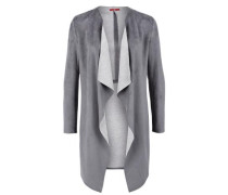 Longjacke in Wildleder-Optik grau