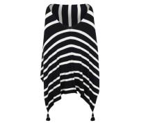 Poncho mit Quasten schwarz / weiß