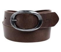 Ledergürtel mit ovaler Schließe braun
