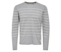 Gestreifter Strickpullover grau / weiß