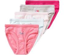 5er-Pack Slips für Mädchen azur / grau / rosé / neonpink / pastellpink