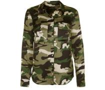 Bluse mit Tarnmuster creme / grün / khaki