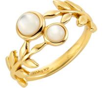 Ring »Zweig« mit Perlmutt gold