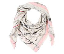 Tuch mit Print und Pailletten creme / rosa / schwarz